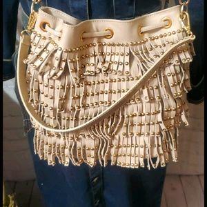 Uterqüe Taupe Fringe Bag